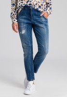 Loose fit Jeans im Blue Denim Look mit Destroys