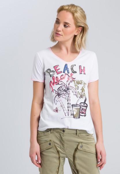 Printshirt mit Glitzerdetails