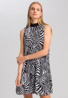 Plisseekleid mit Zebra-Print