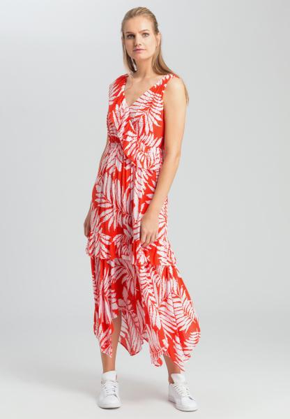 Maxi-Kleid mit Blätter-Dessin