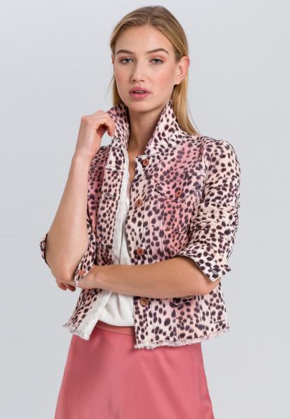 Jeansjacke im Leoparden-Look