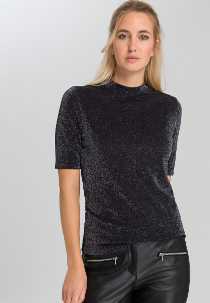 Lurexshirt mit Turtleneck