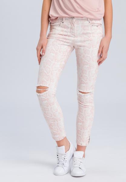 Jeans mit hellem Schlangenprint und Destroys