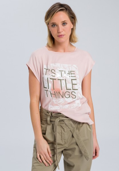 T-Shirt mit Message-Patchwork-Print
