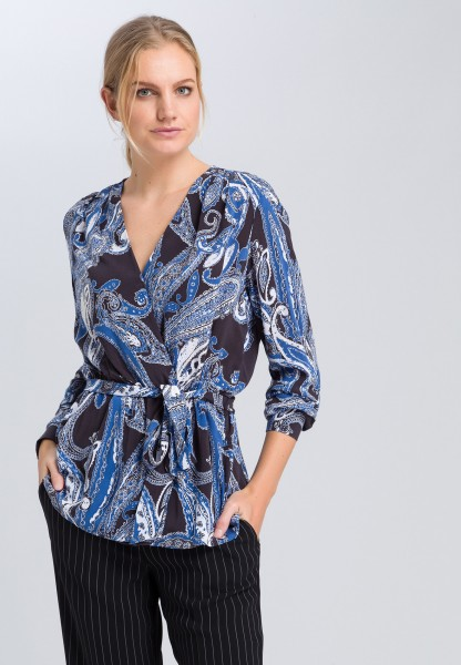 Wickelbluse mit Paisley-Druck