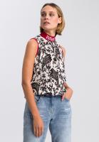 Shirtbluse mit Paisley-Print und Motto