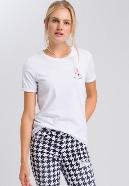 T-Shirt mit glänzender Applikation