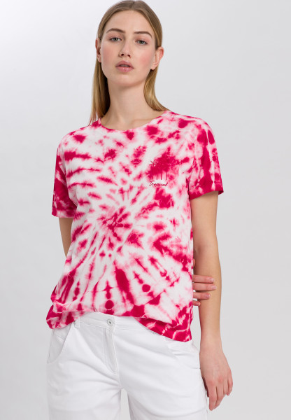 T-Shirt im Batik-Look mit Stickerei