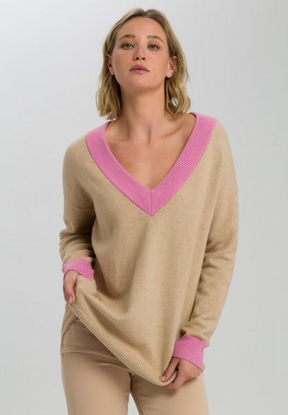 Pullover mit Kontrast V-Ausschnitt