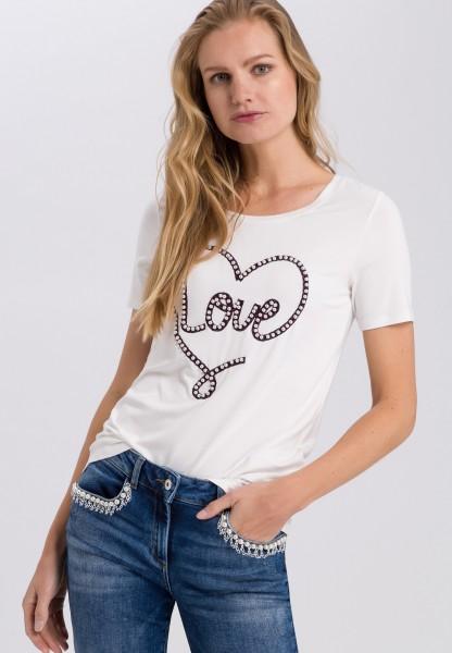 Shirt mit Lovestickerei