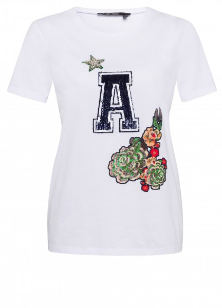 T-Shirt mit Badge Patchwork