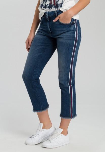 Jeans mit Lurex-Streifen
