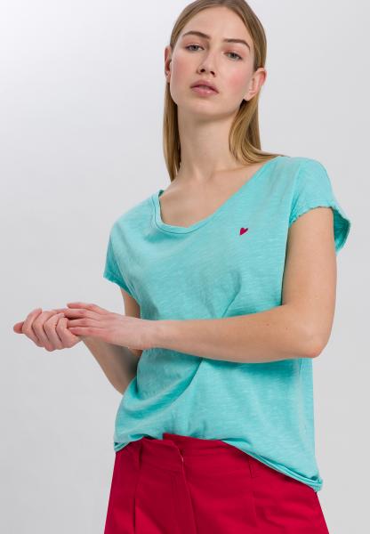 T-Shirt mit kleiner Herzchen-Stickerei