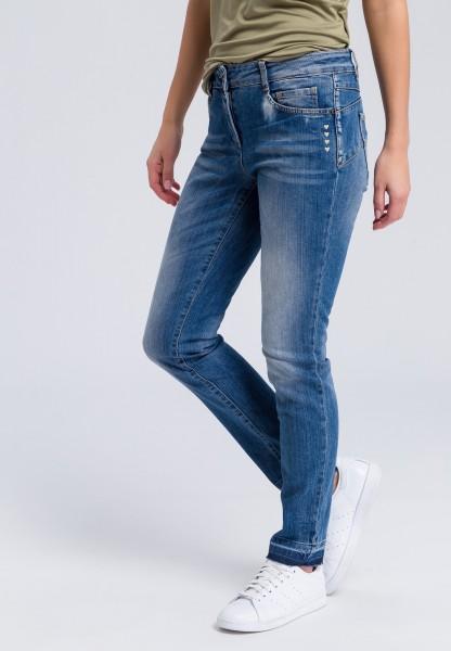 Slim-fit-Jeans mit kleinen Herz-Stitchings