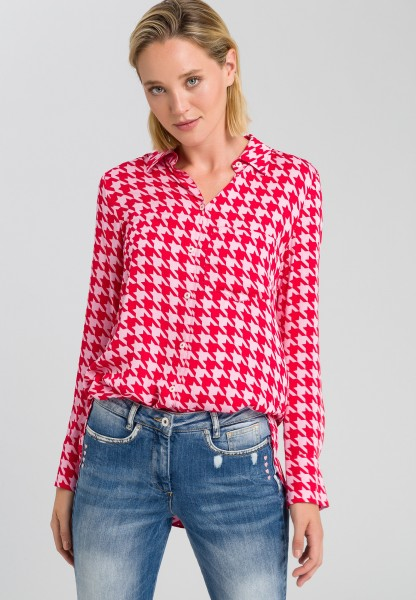 Bluse mit Hahnentrittmuster