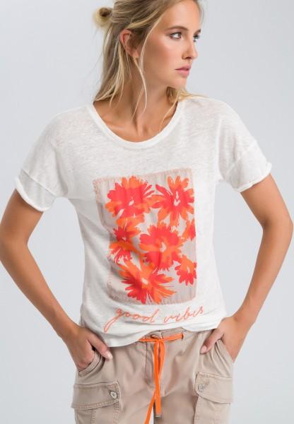 Shirt mit Blumen-Applikation