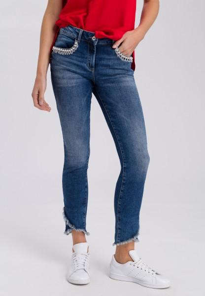 Jeans mit Zierperlen-Detail