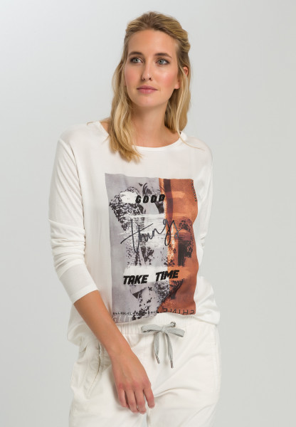 Shirtbluse mit abstraktem Frontprint