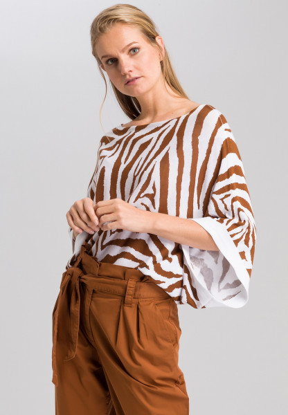 Poncho-Pullover mit Tigermuster