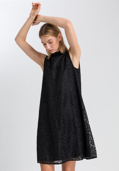 Besticktes Kleid mit Stehkragen