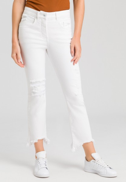 Hose in White-Denim-Optik mit Destroys
