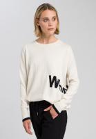 Pullover mit eingestrickter Mottoschrift