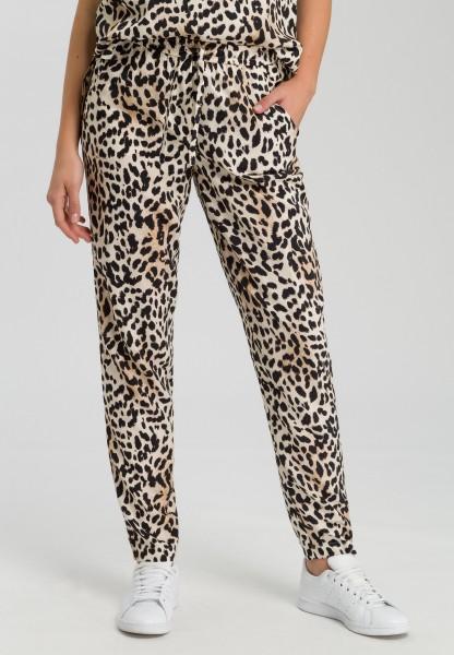 Stoffhose mit Leoparden-Print