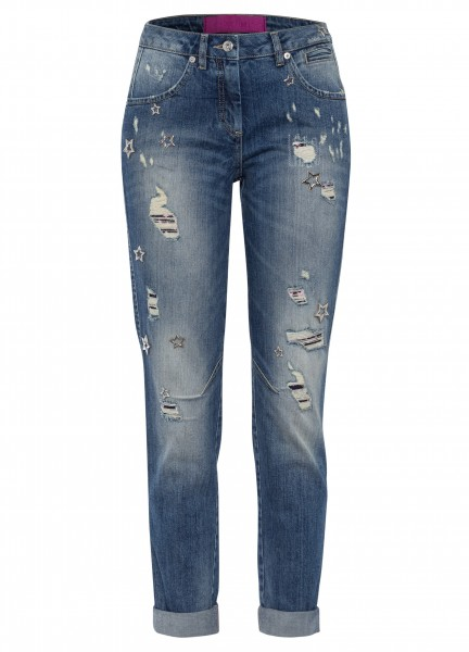 Loose Jeans mit Stars Features