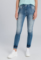 Skinny Jeans in Blue Denim Optik mit Destroy