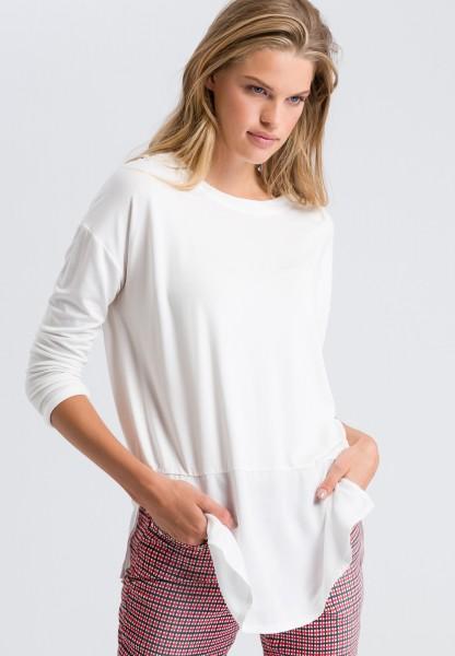 Blusenshirt im Materialmix