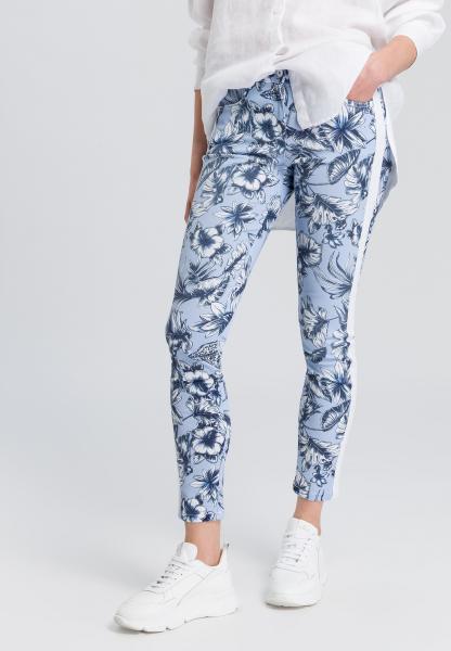 Jeans mit floralem Print und Seitenstreifen