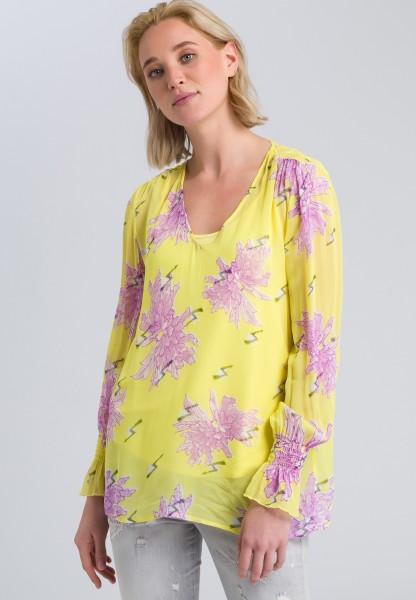 Blusenshirt mit Allover-Blumenmuster