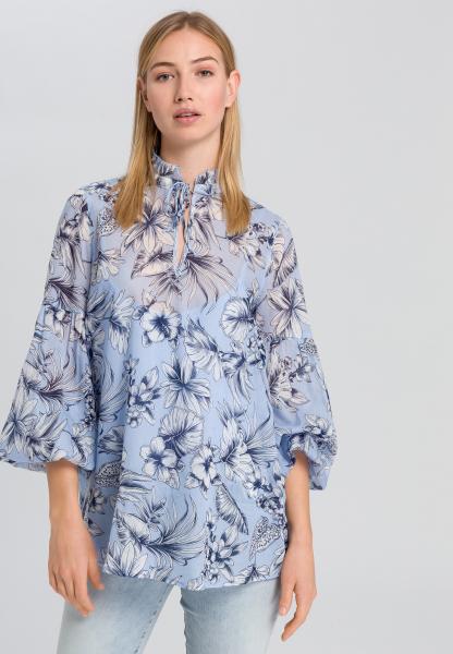 Stehkragenbluse mit floralem Print