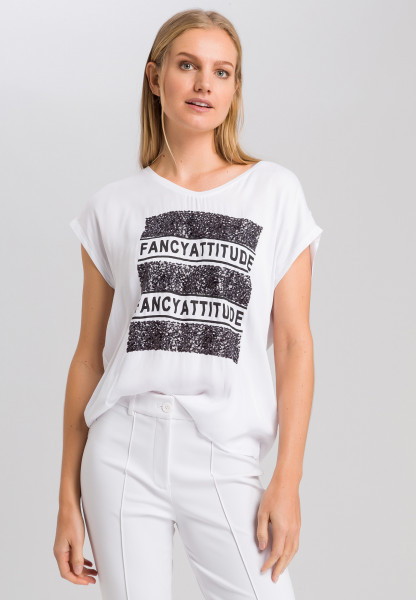 T-Shirt mit Pailletten-Schrift-Applikation