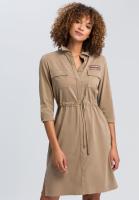 Safarikleid aus nachhaltigem Twill mit Neonbadge