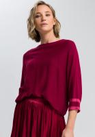 Poncho-Pullover mit Kontrastringelbündchen