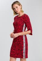 Kleid mit Leoparden-Druck mit Schriftband