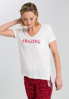 T-Shirt mit Message und aufgesetzter Brusttasche