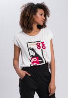 Shirtbluse mit kontrastfarbenem Motto-Print