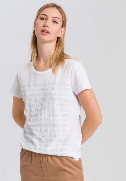 T-Shirt mit Streifen aus Ziersteinen