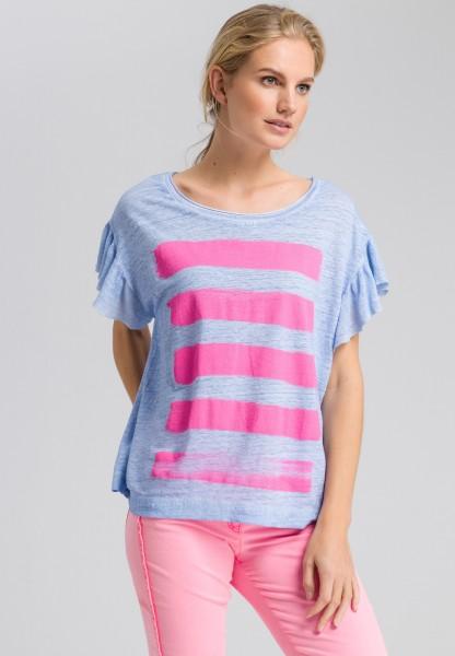 Shirt mit Rüschen und Dye-Optik