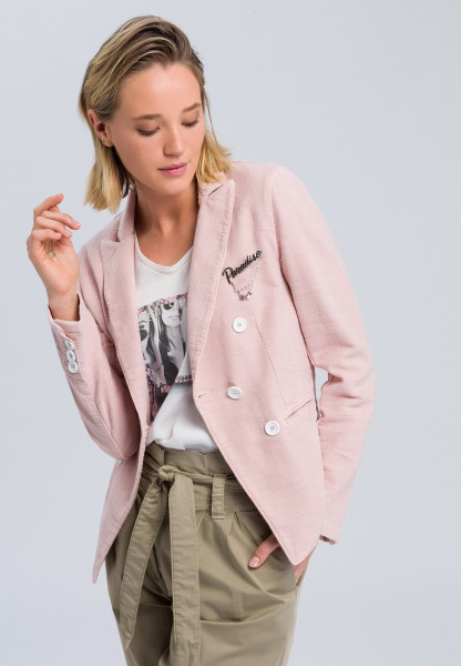Blazer in Struktur-Optik mit Brosche